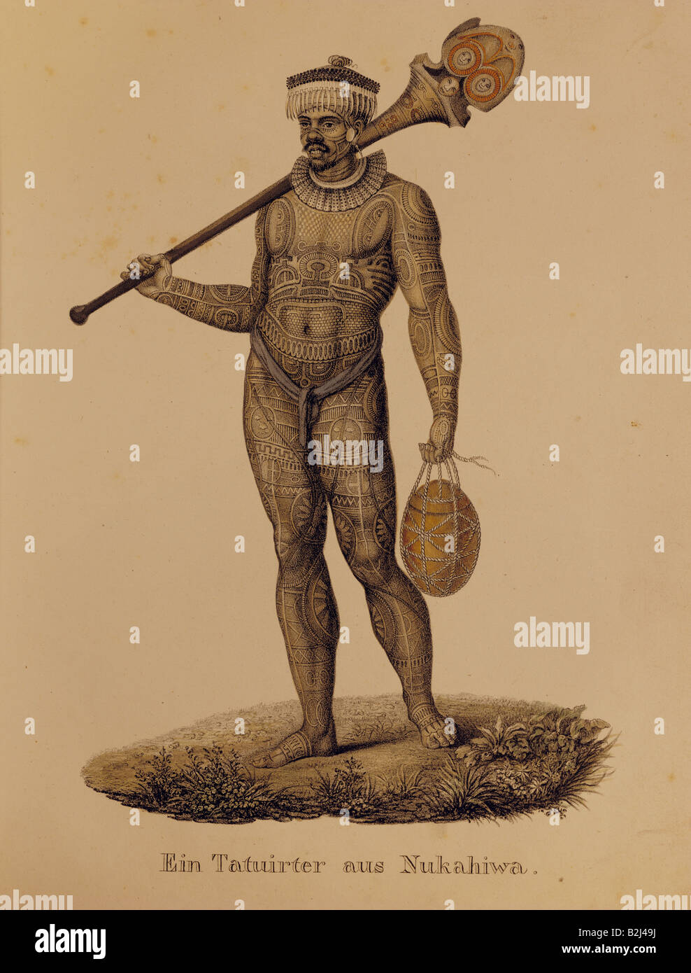 people, ethnology, men, 'Ein Tatuirter aus Nukahiwa' (A tattooed man from Nuku Hiva), lithograph by Karl - Stock Image