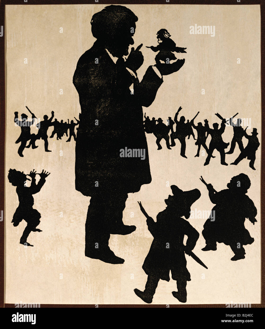 Wagner, Richard, 22.5.1813 - 13.2.1883, German composer, caricature, with his objectors and cristics, silhouette - Stock Image