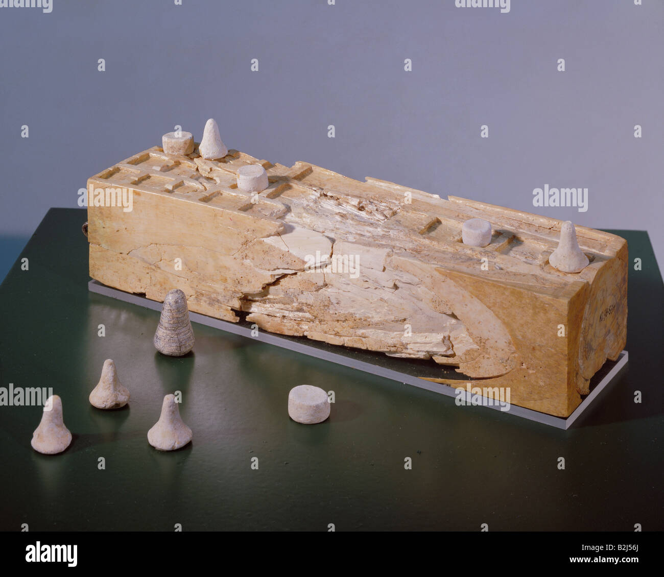 game, game baord, ivory, Phoenicia, Kamed el-Loz, 13ht century BC, National Museum, Beirut, games, game pieces, - Stock Image