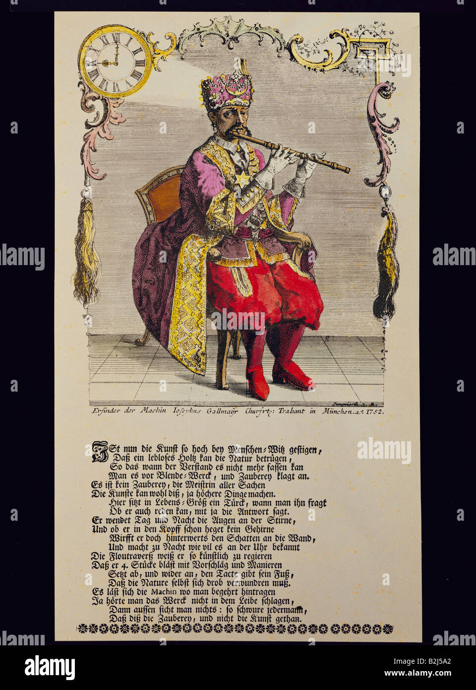 music, musical automate, technicss, Turk playing flute, built by Joseph Gallmayr (1717 - 1790), coloured copper - Stock Image