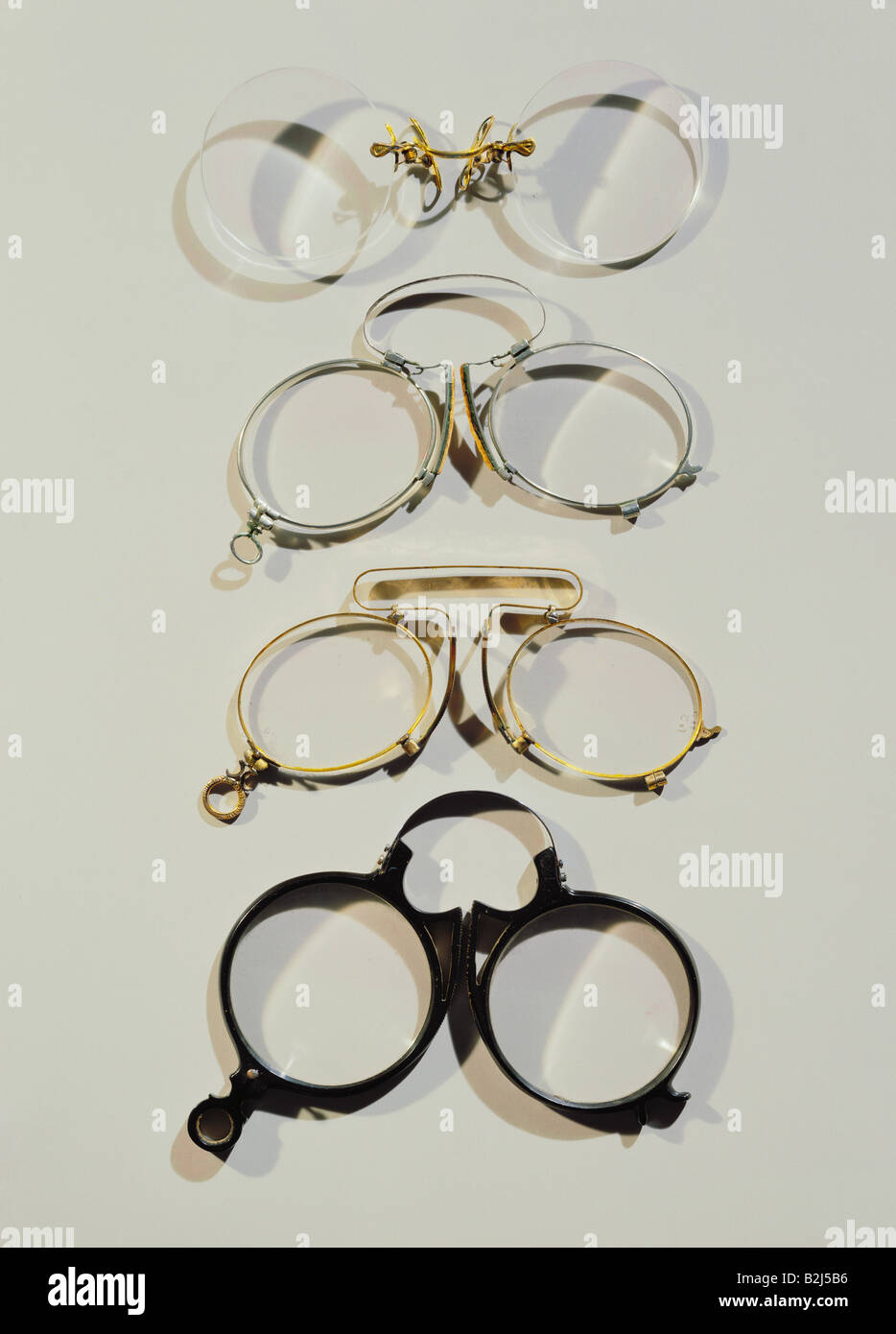 medicine, ophthalmology, glasses, four pince-nez with steel springs, circa 1900, Additional-Rights-Clearances-NA - Stock Image