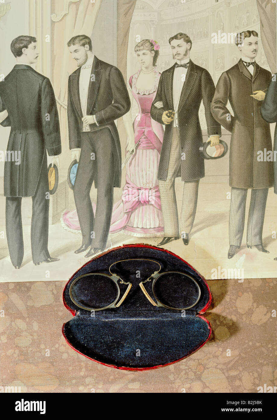 medicine, ophthalmology, glasses, pince-nez with case, late 19th century, on steel engraving, Paris, circa 1850, - Stock Image