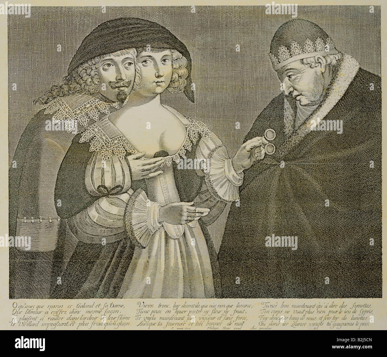 people, marriage, caricature, the unfaithful wife, copper engraving by Philippe Huar after P. Davet, Paris, 2nd - Stock Image
