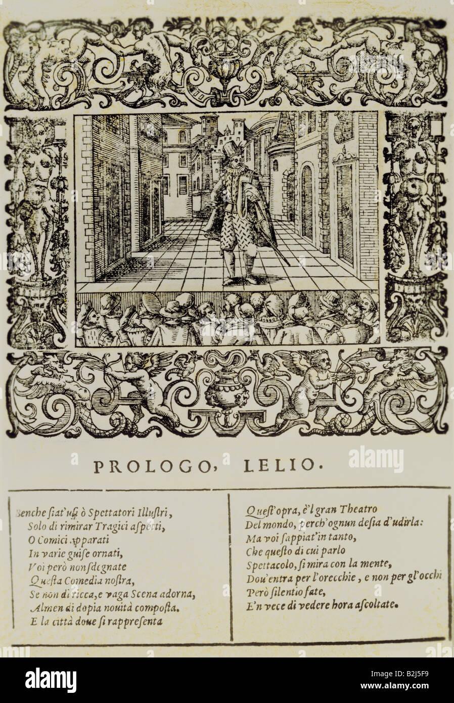 """Vecchi, Orazio Tiberio, 6.12.1550 - 19.2.1605, Italian composer, works, """"Prologo Lelio"""", from """"L`Amfiparnaso"""", titleStock Photo"""