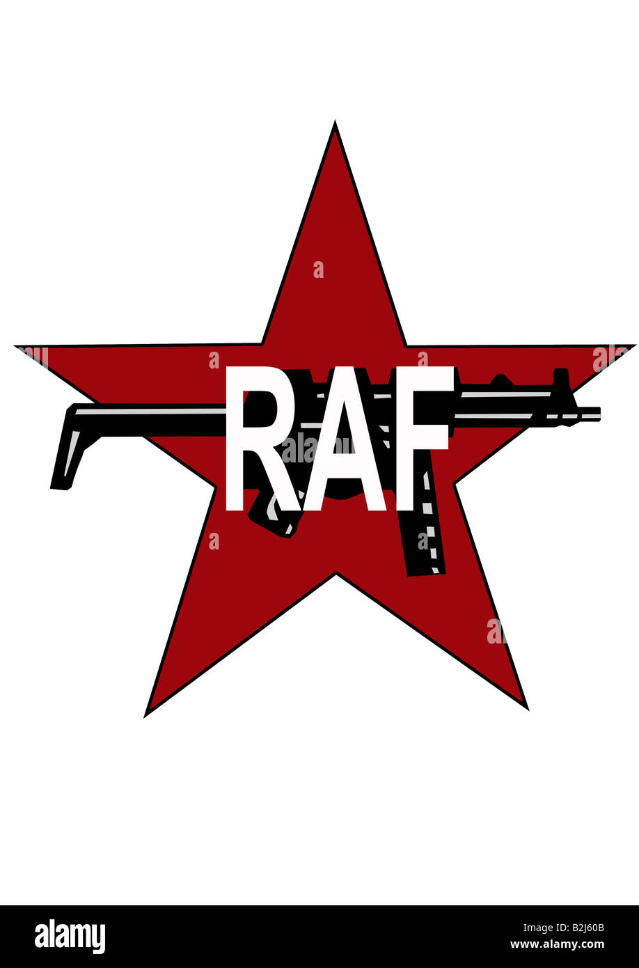terrorism, symbol, emblem, Red Army Fraction (RAF), terror group, supmachine gun, supmachinegun, MG, Heckler and - Stock Image