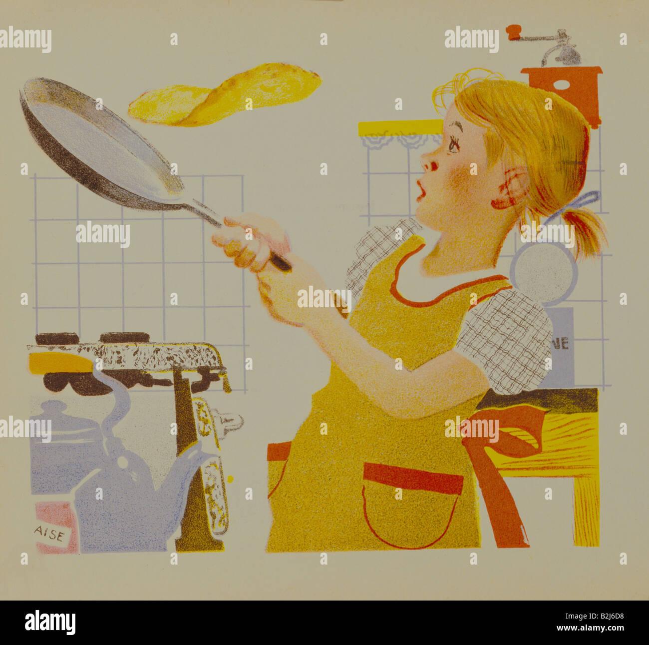 "ÜF, SG hist., Haushalt, cooking and baking, illustration, children`s book ""Calendrier des Enfants"" (Children`s calendar), Stock Photo"