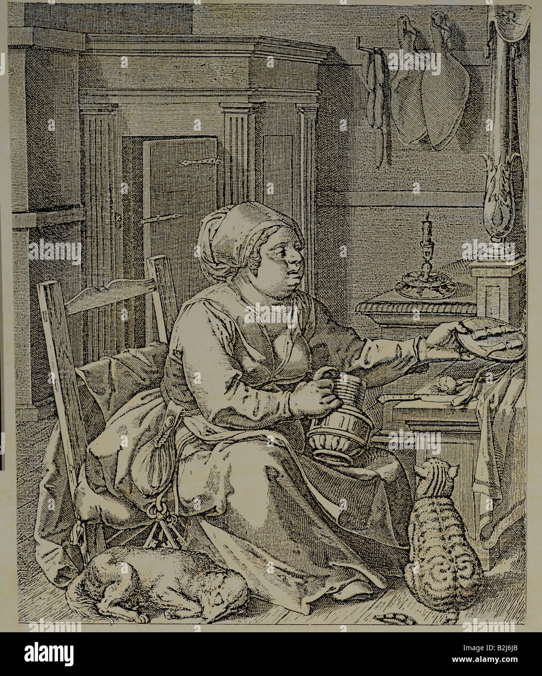 religion, Christianity, allegory, deadly sins, 'Gluttony', copper engraving by Jodrus a Winghe, um 1600, - Stock Image
