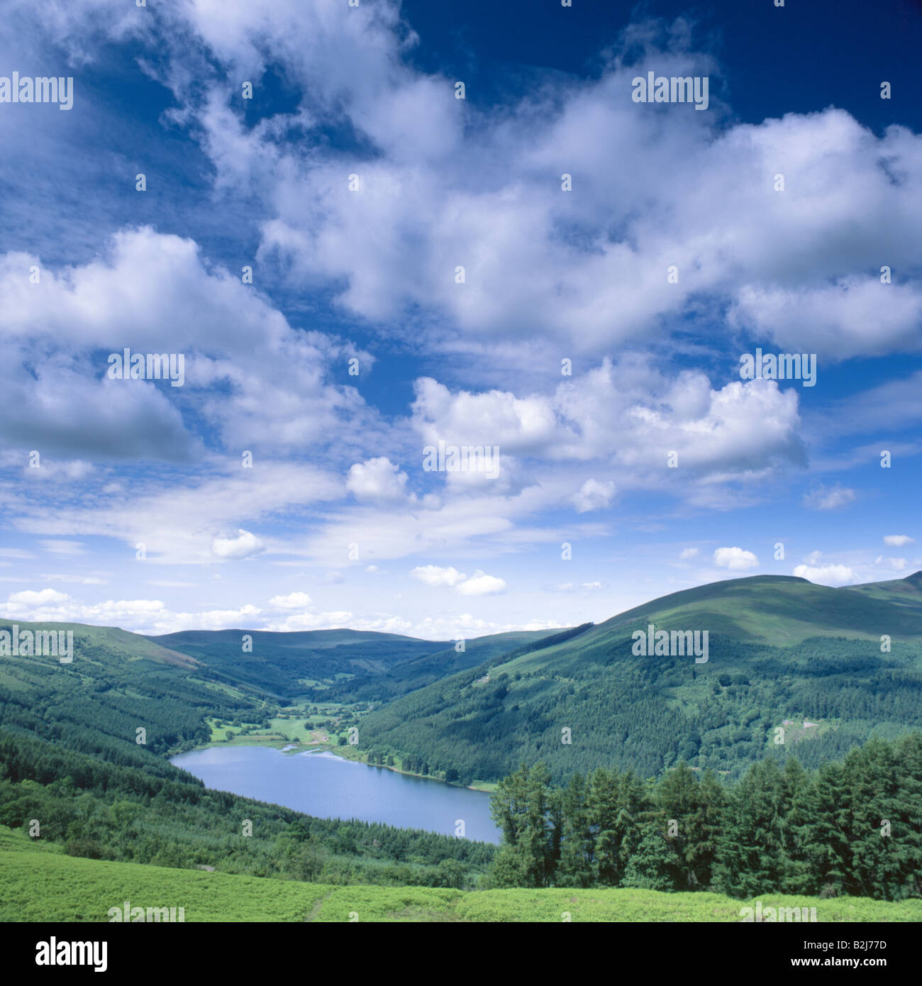 Glyn Collwn and Talybont Reservoir, Brecon Beacons, Wales, UK - Stock Image