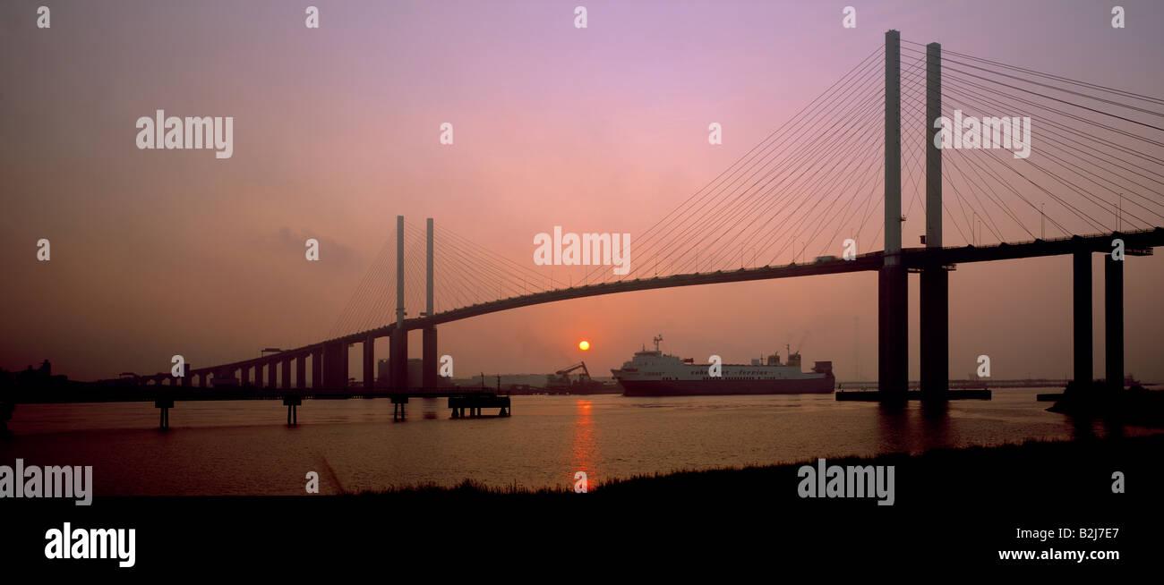 Panoramic of the Queen Elizabeth II bridge, Dartford crossing. London, Kent, England, UK. - Stock Image