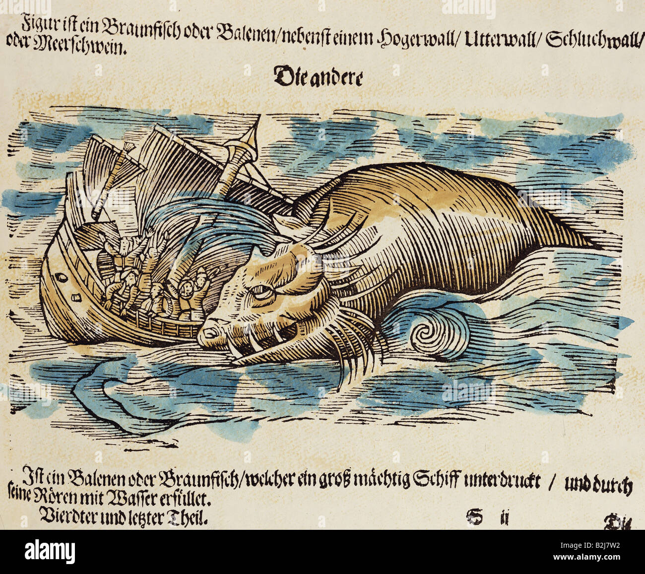 superstition, mythical creatures, wale attacking a ship, woodcut, 'Historia animalium' by Conrad Gesner, - Stock Image
