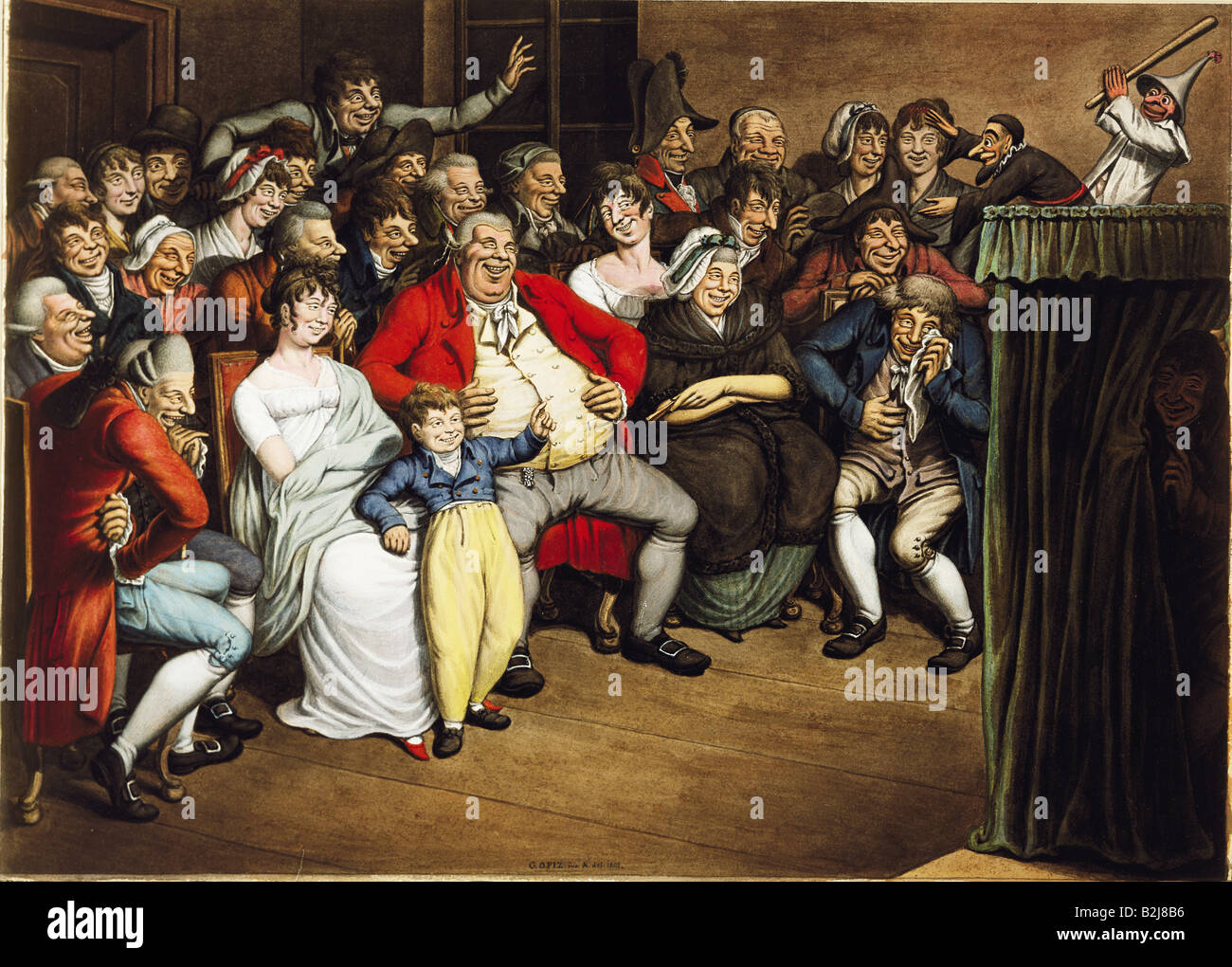 "theatre, puppet theatre, ""Mister Punch"" (""Kasperltheater""), Gouache by Georg Emanuel Opitz, Germany, 1805, Munich Stock Photo"