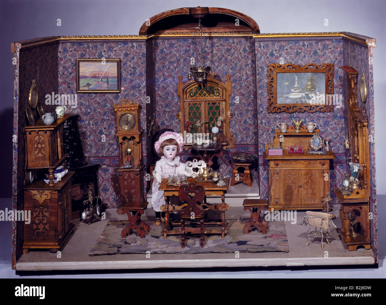 toys, dolls, dollhouse, living room, South Germany, circa 1890, Additional-Rights-Clearances-NA - Stock Image