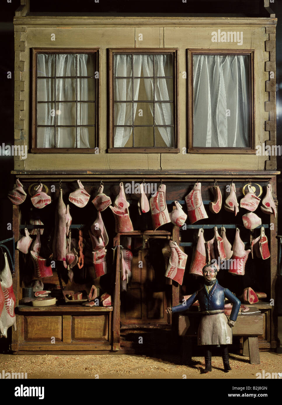 toys, dolls, dollhouse, butcher shop of the Fernley Familiy, Swaton Road, London, wood, circa 1880, Additional-Rights - Stock Image