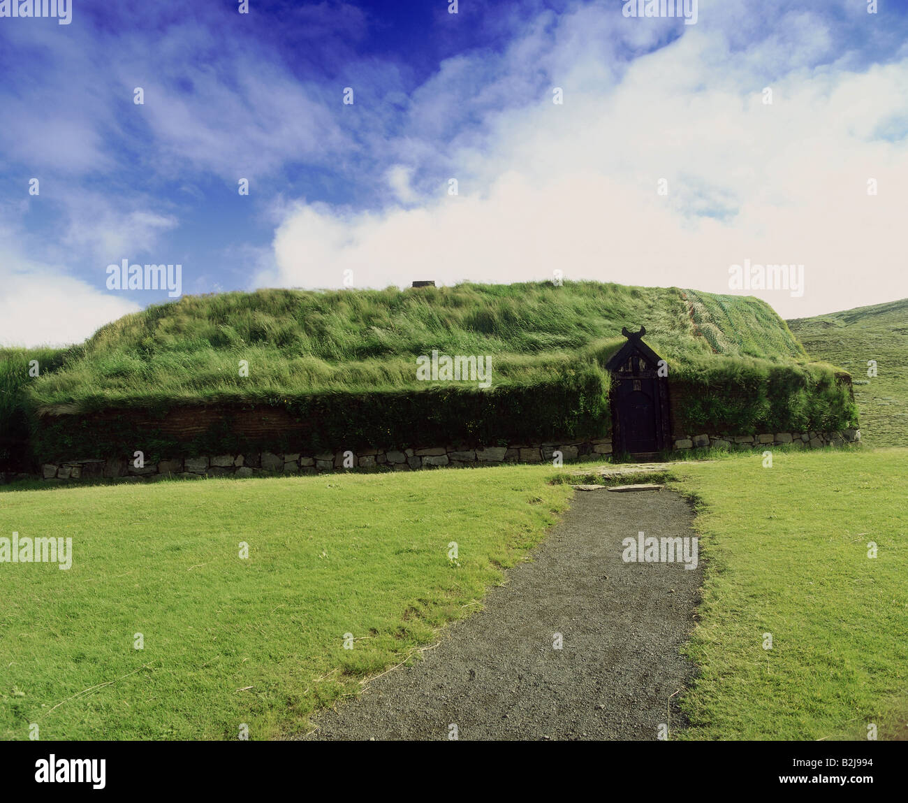 architecture, farmhouses, Iceland, Stöng, reconstructed farmstead, 11th century, Additional-Rights-Clearance - Stock Image