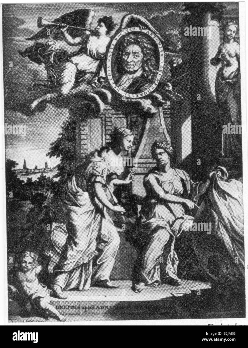 Leeuwenhoek, Antoni van, 24.10.1632 - 27.8.1723, Dutch scientist, frontispiece, of 'Epistolae Physiologicae', - Stock Image