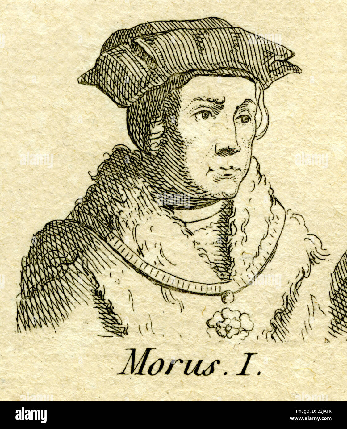 More, Thomas, 7.2.1478 - 6.7.1535, English philosopher and politician, portrait, engraving, 18th century, , Artist's - Stock Image