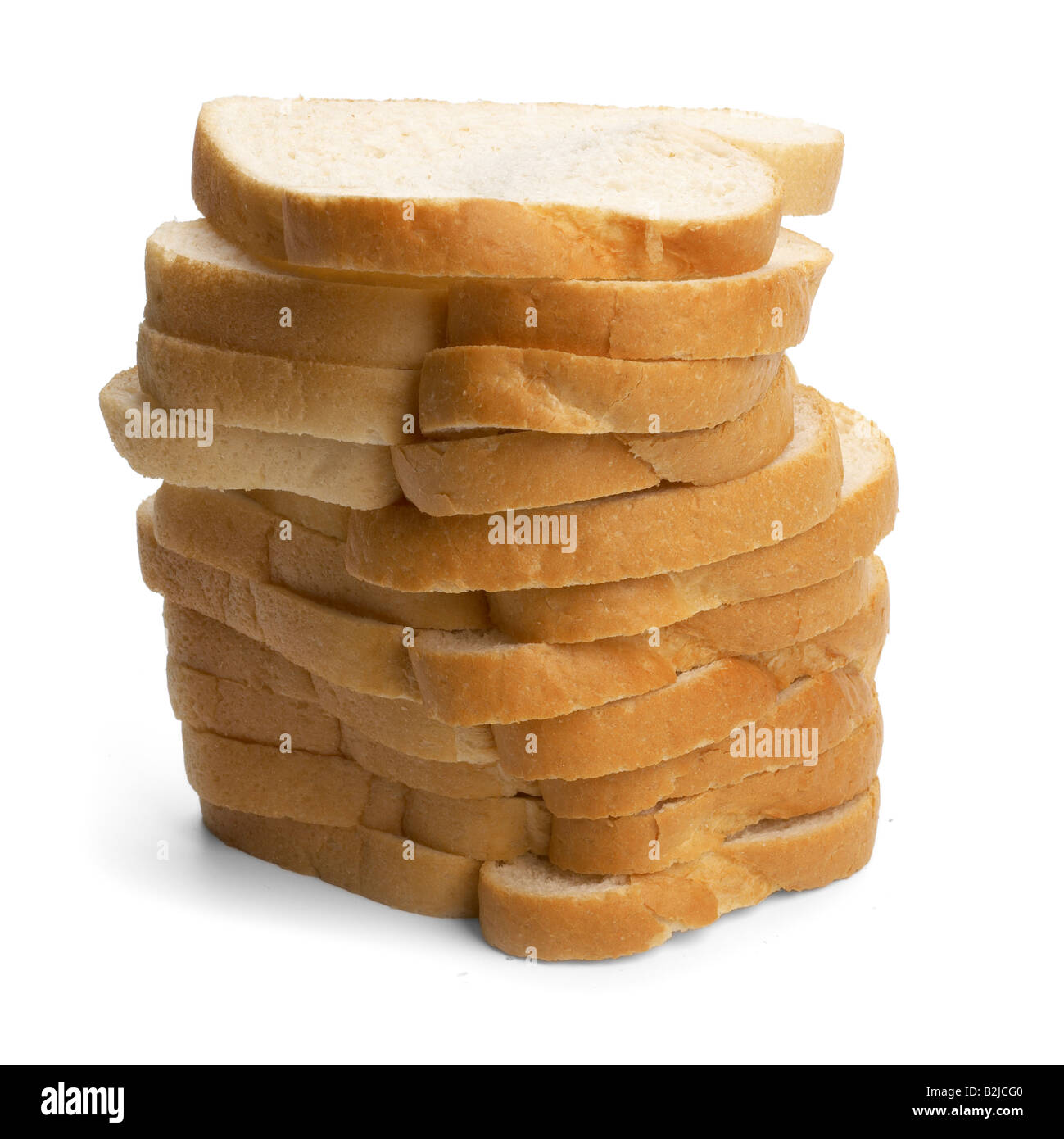 Pile of white bread slices - Stock Image
