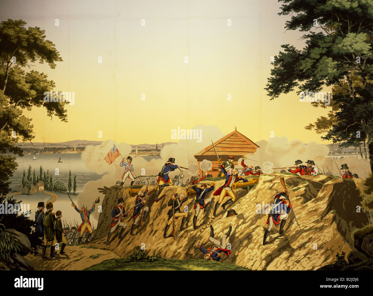 events, American Revolutionary War 1775 - 1783, Americans under General Lafayette attacking a British position at - Stock Image