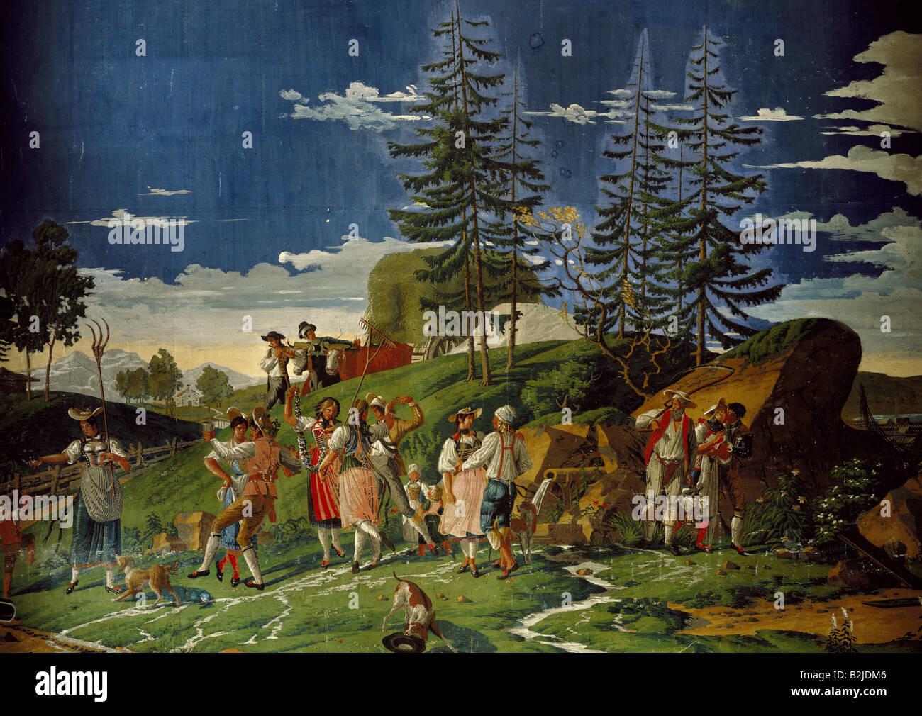 "festivity, ""Swiss Harvest Festival"", wallpaper, painting, Zuber et Cie, Rixheim, Alsace, design Pierre Antoine Mongin, 1813, section, ..."