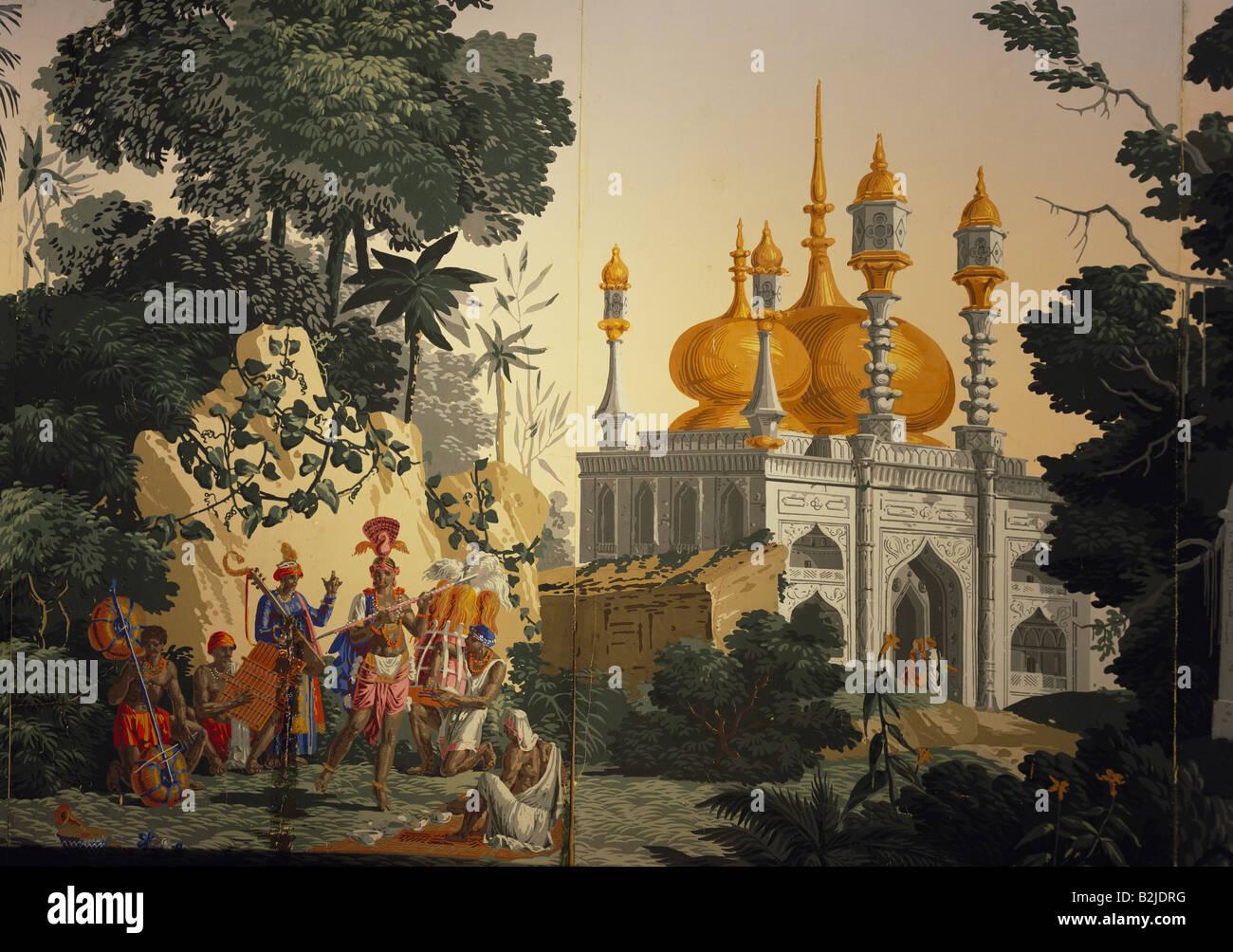 "geography / travel, India, religion, mosque, exterior view, wallpaper, painting, Zuber et Cie, Rixheim, Alsace, series ""L´ Hindoustan"", 1806, detail, ..."