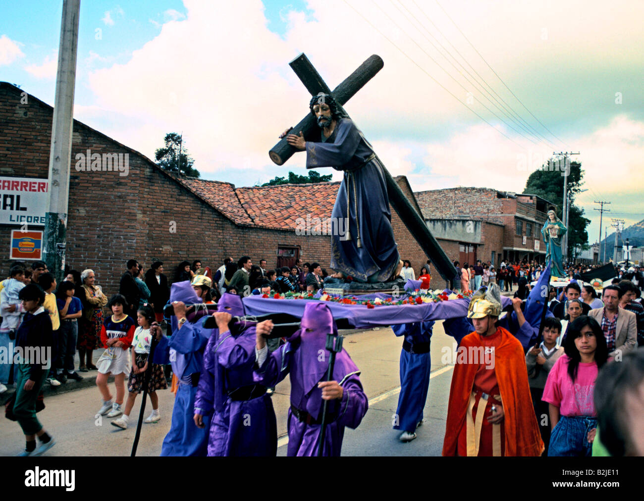 easter sunday in bogota columbia carrying an effigy of christ - Stock Image
