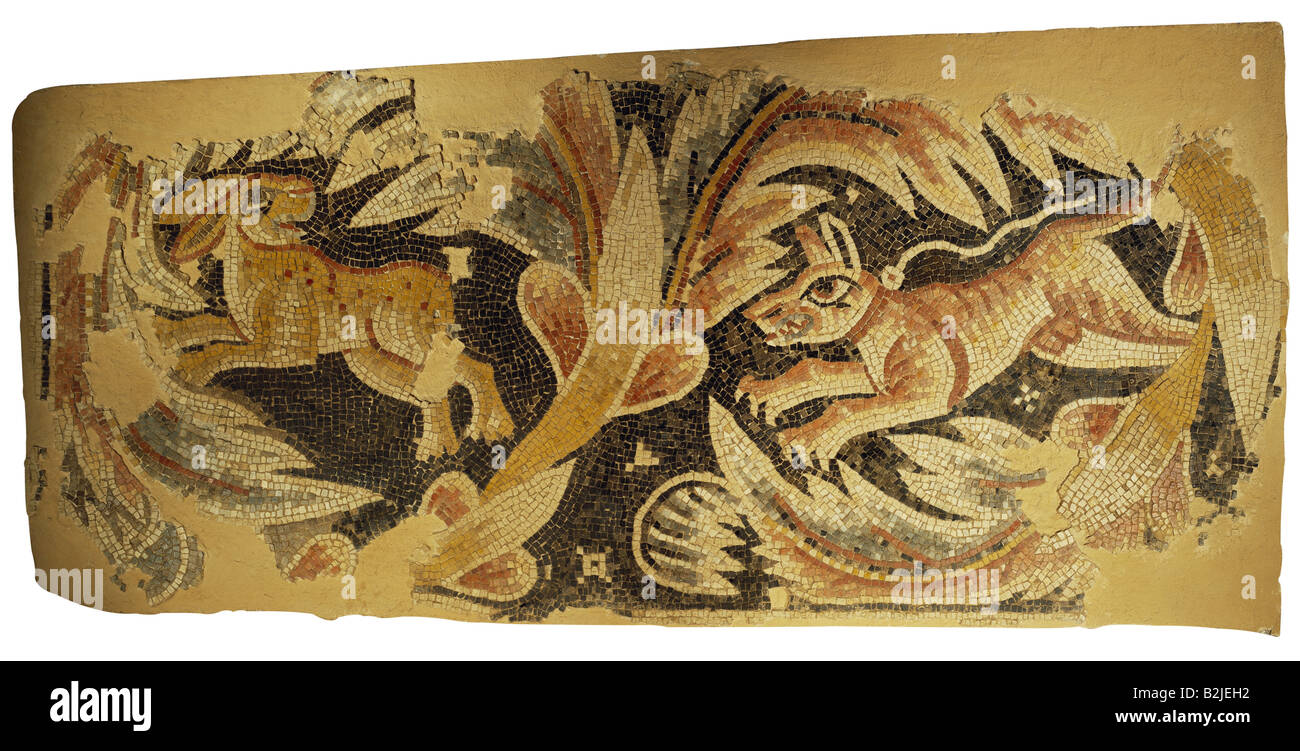 fine arts, Middle Ages, Jordan, mosaic, hare being chased by dog, church at Massuh near Madaba, 2nd half of the Stock Photo
