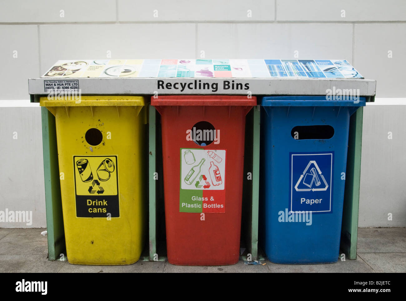 Three colour coded plastic recycling bins for aluminium drink cans, glass and plastic, and paper - Stock Image
