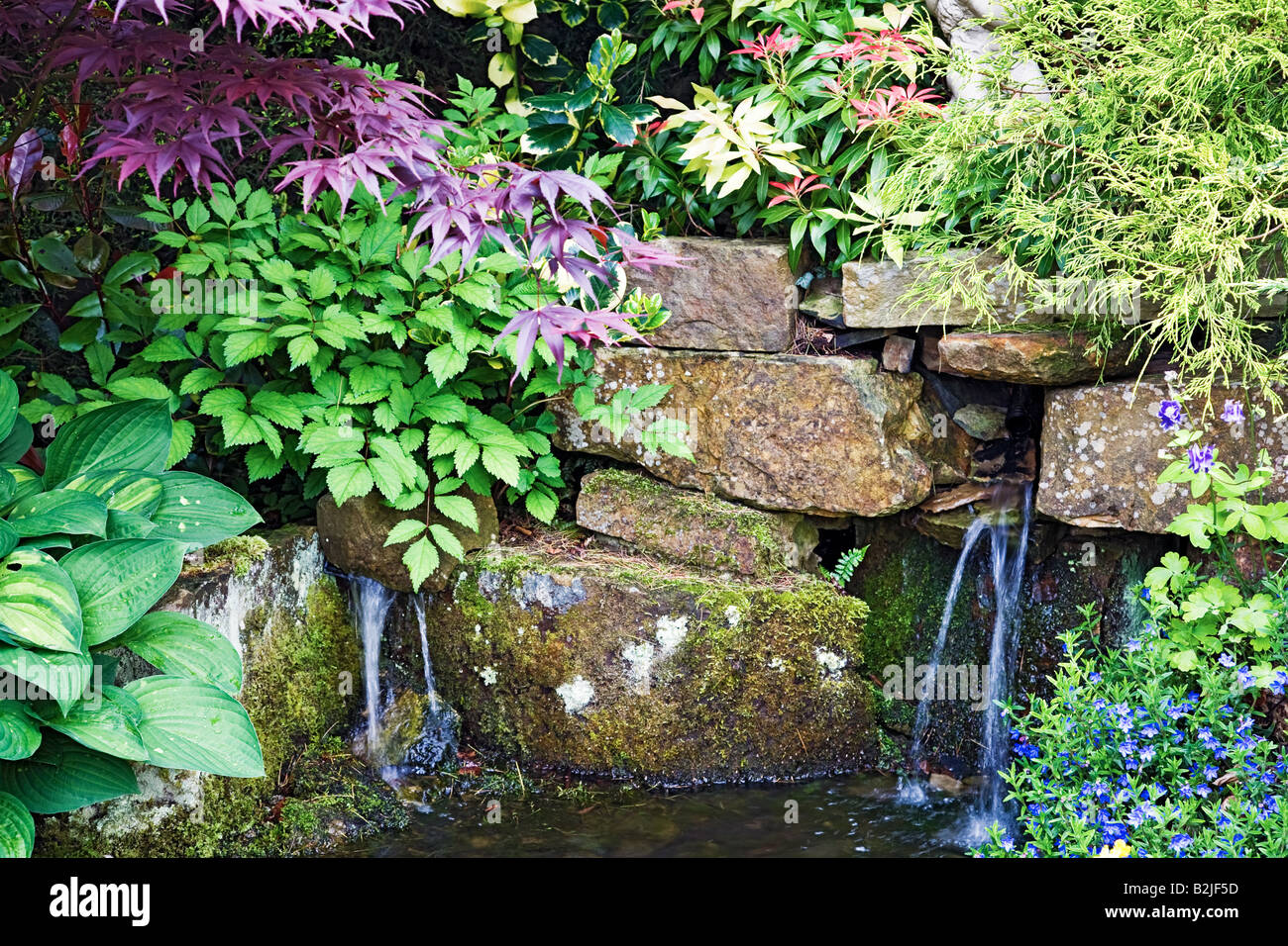 ENGLISH GARDEN WATERFALL AND POND