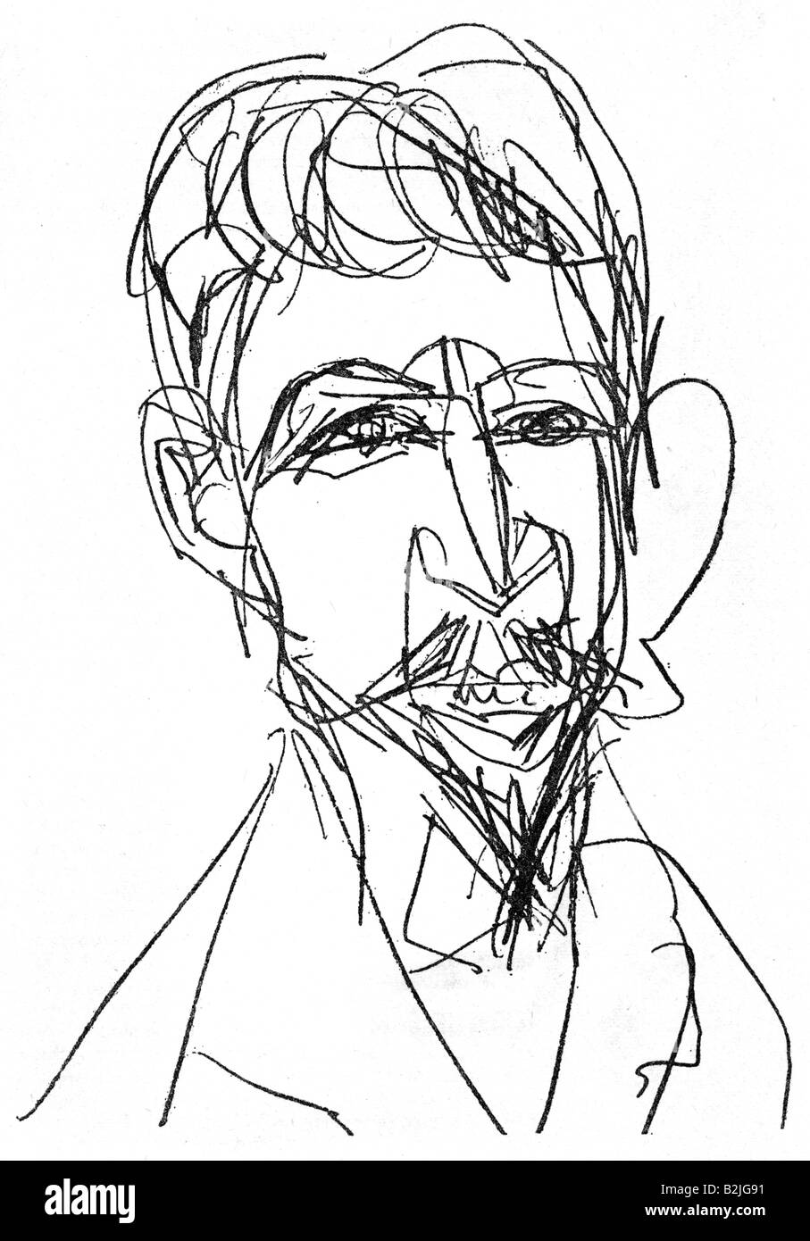 Doeblin, Alfred, 10.8.1878 - 26.6.1957, German author / writer, portrait, drawing by Ernst Ludwig Kirchner, 1913, - Stock Image