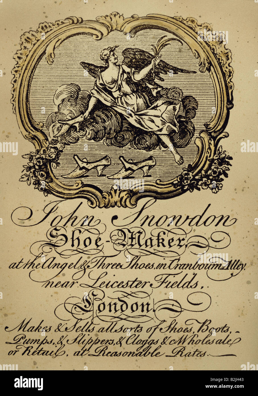 Advertising business cards advertising card of a shoemaker london advertising business cards advertising card of a shoemaker london copper engraving circa 1750 private collection print p reheart Gallery