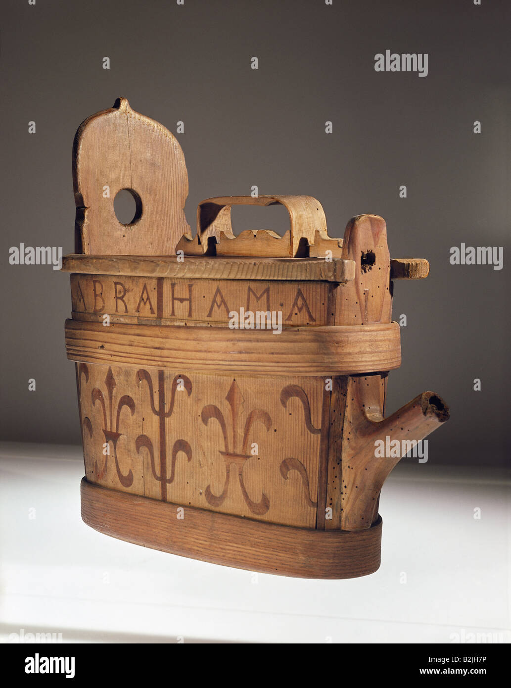 household, vessels, vessel for milk or water, wood, carved, 35.5 cm x 20 cm, Switzerland, 1671, Additional-Rights - Stock Image