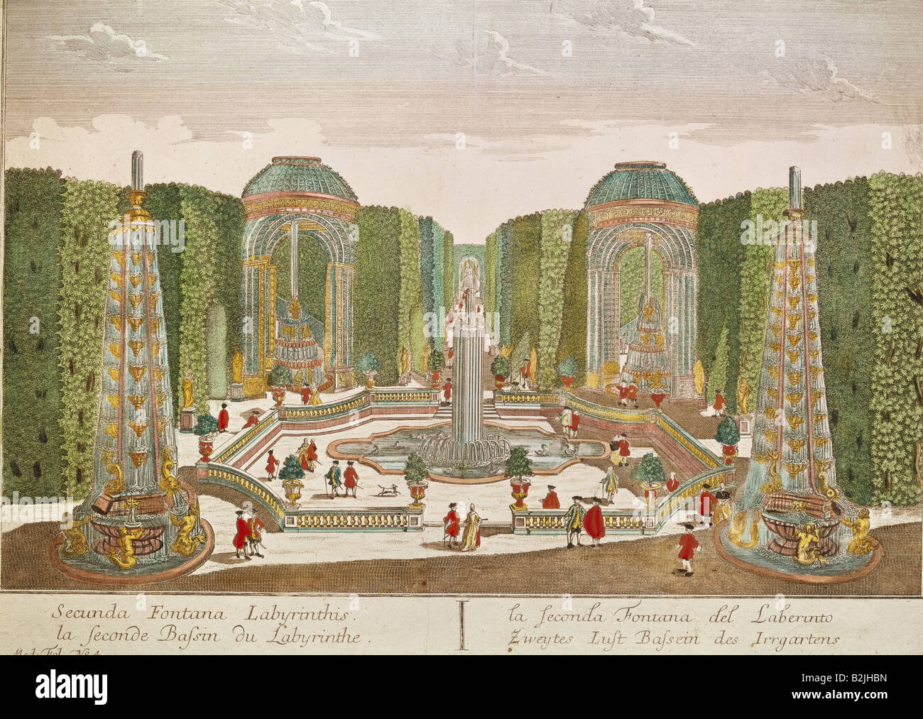 architecture, gardens and parks, maze, garden labyrinth, raree show picture, copper engraving, coloured, by Balthasar - Stock Image