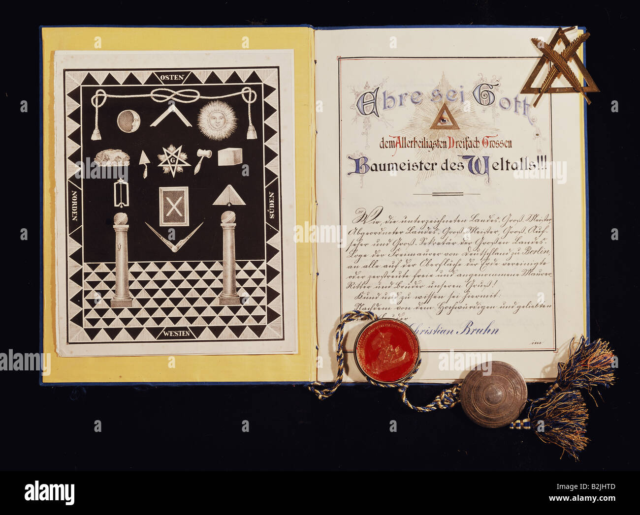 freemason, articles of incorporation, Johannesloge 'In Treue fest', Munich, Germany, 1903, private collection, - Stock Image
