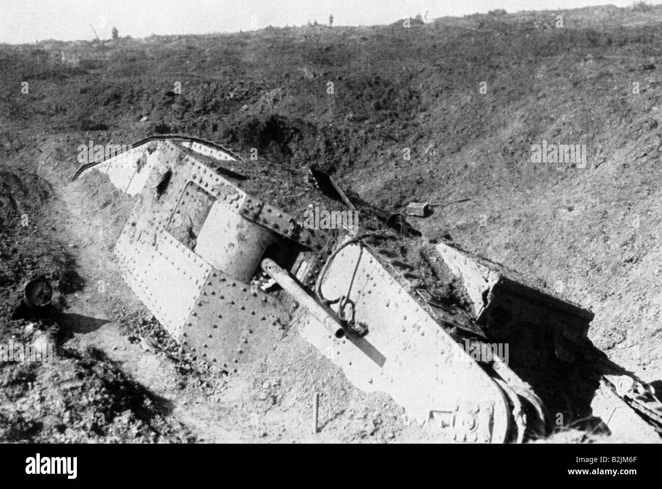 events, First World War / WWI, Western Front, blocked up British tank Mark IV between Arras and Bapaume, France, - Stock Image
