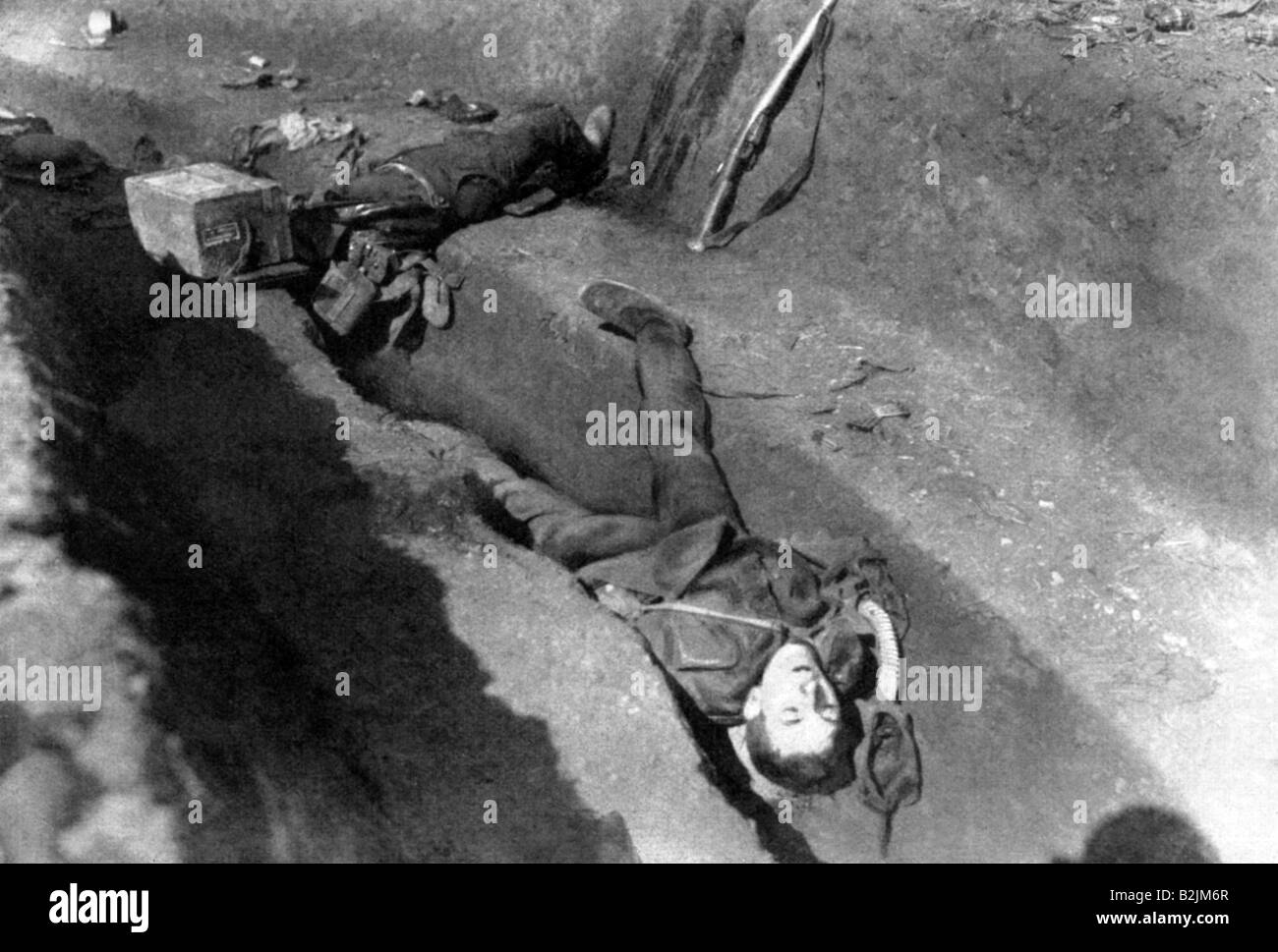 events, First World War / WWI, Western Front, British sentry killed during a German reconnaissance in force, France, - Stock Image