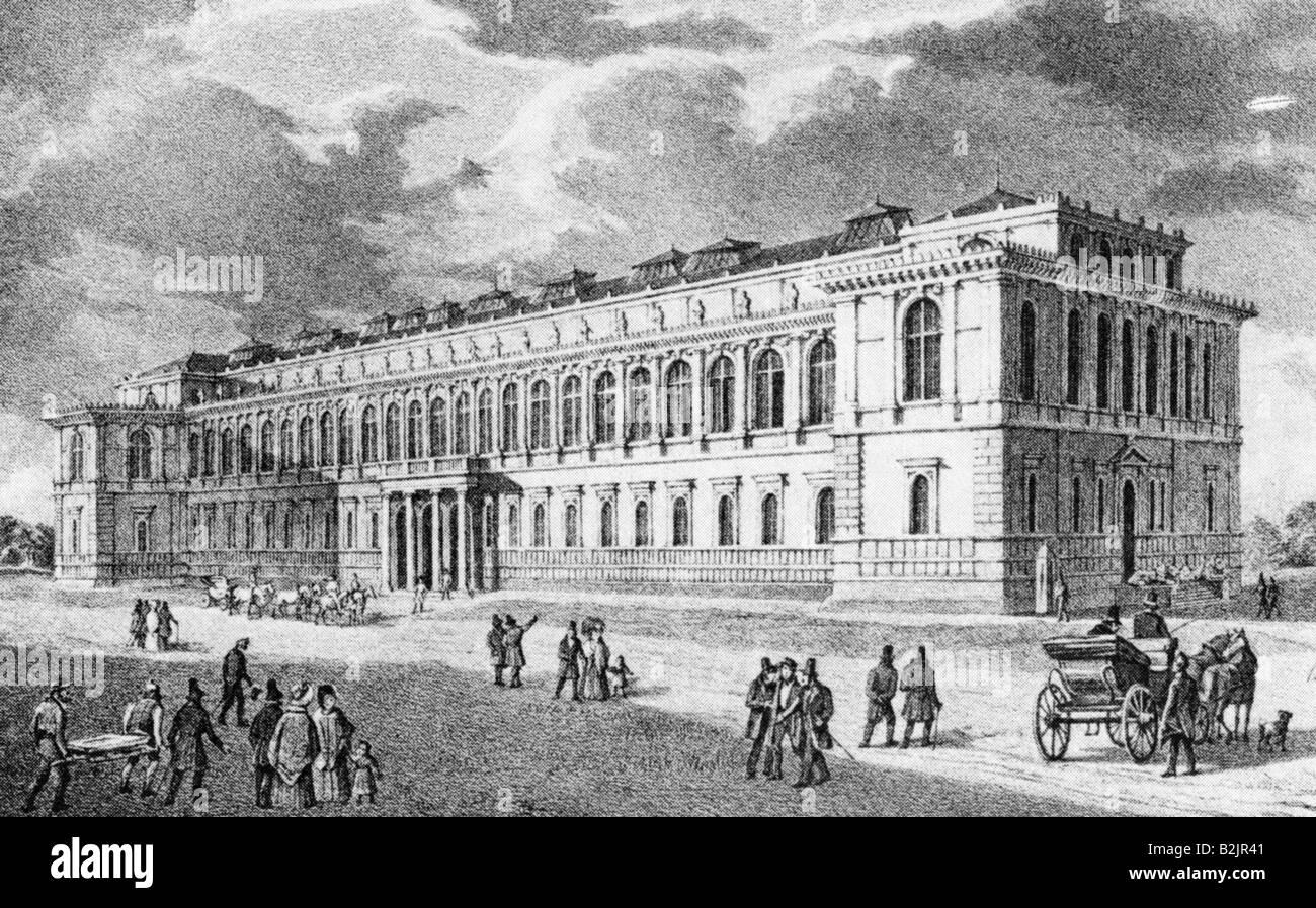 geography/travel, Germany, Munich, Alte Pinakothek, built 1826 - 1836,  architect: Leo von Klenze, exterior view, lithograph von Carl August  Lebschee, ...
