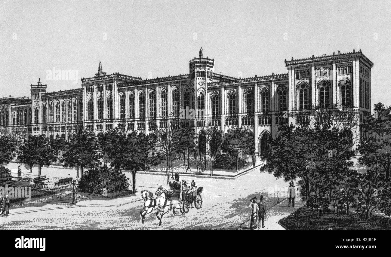 geography/travel, Germany, Munich, building of the Royal Bavarian Government, built 1856 - 1864, architect: Friedrich - Stock Image