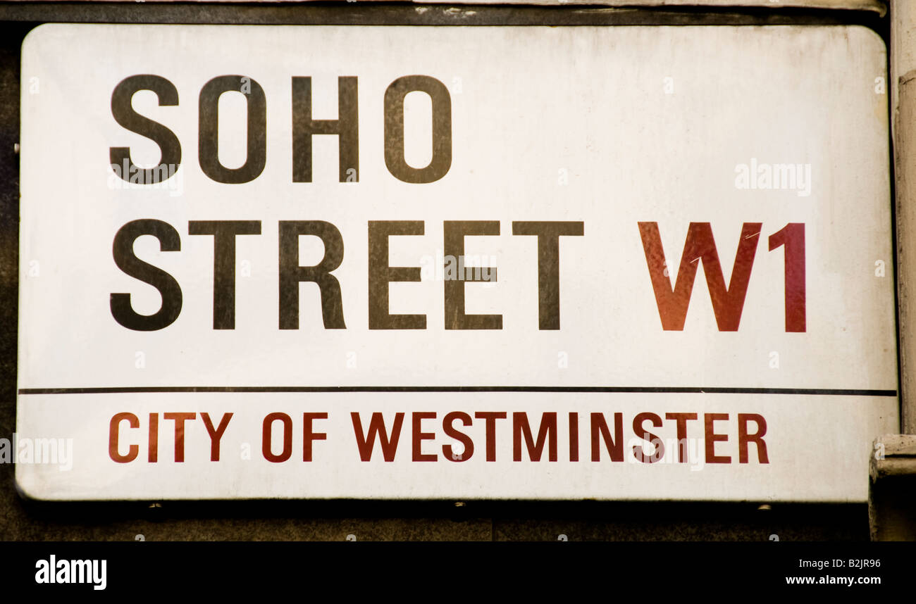 Soho Street sign in London - Stock Image