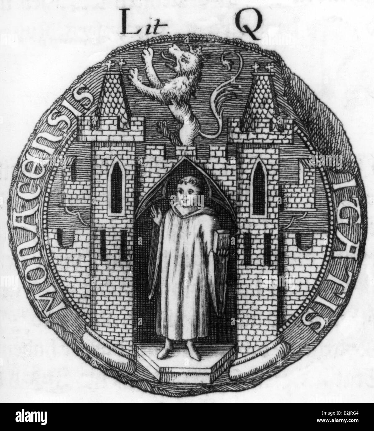 heraldry, seals, Germany, Munich, city seal 1388, copper engraving, 18th  century, monk, middle ages, Bavaria, 14th century, historic, historical,  medieval, ...