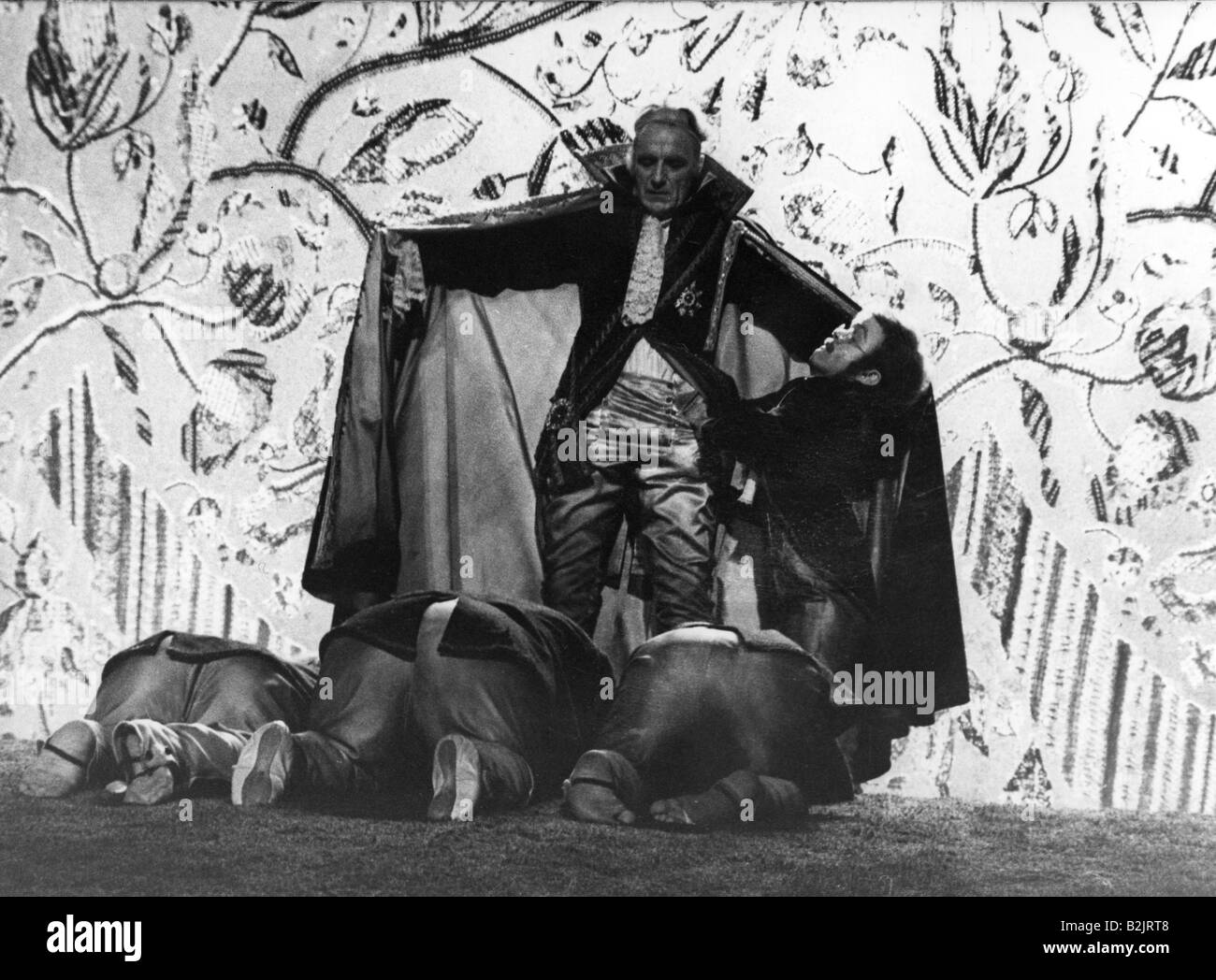 """theatre / theater, """"Leonce and Lena"""", scene with:  Romuald Pekny (King Peter), director: Johannes Schaaf, 1975, Stock Photo"""
