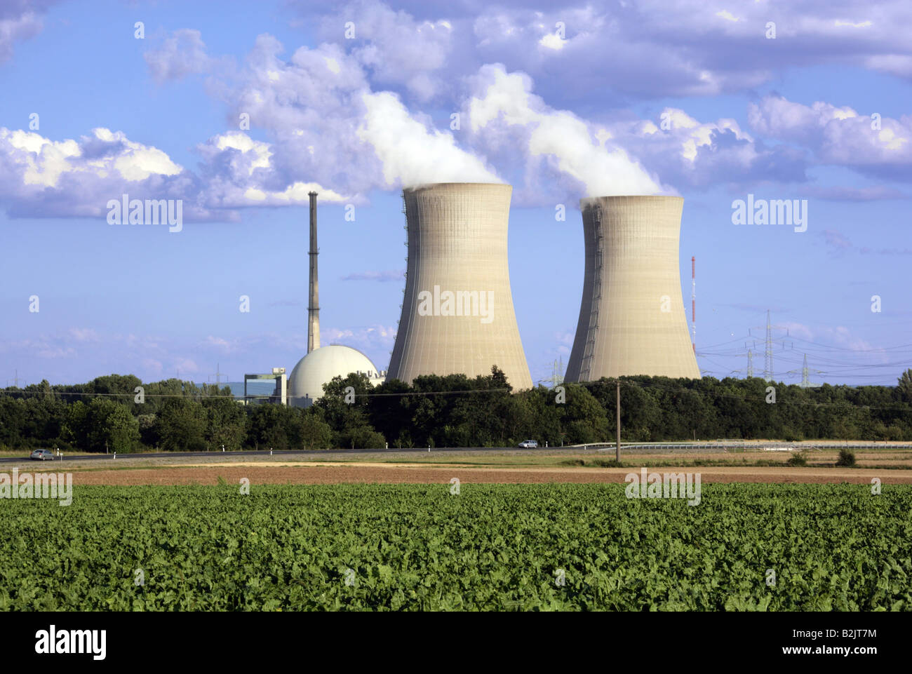 energy, Grafenrheinfeld Nuclear Power Plant, Bavaria, Germany, exterior view, Additional-Rights-Clearance-Info-Not - Stock Image