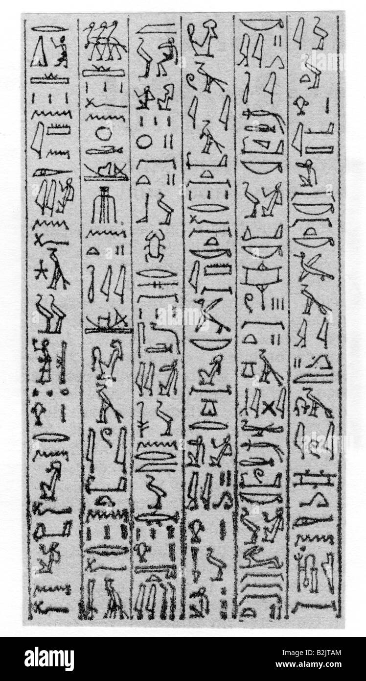 writing, stripture, ancient world, Egypt, hieroglyphs, from a memorial stone from Thebes, transcibed by Richard - Stock Image