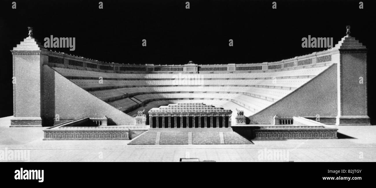 National Socialism / Nazism, architecture, capital of the Third Reich 'Germania', German Stadium, miniature, - Stock Image