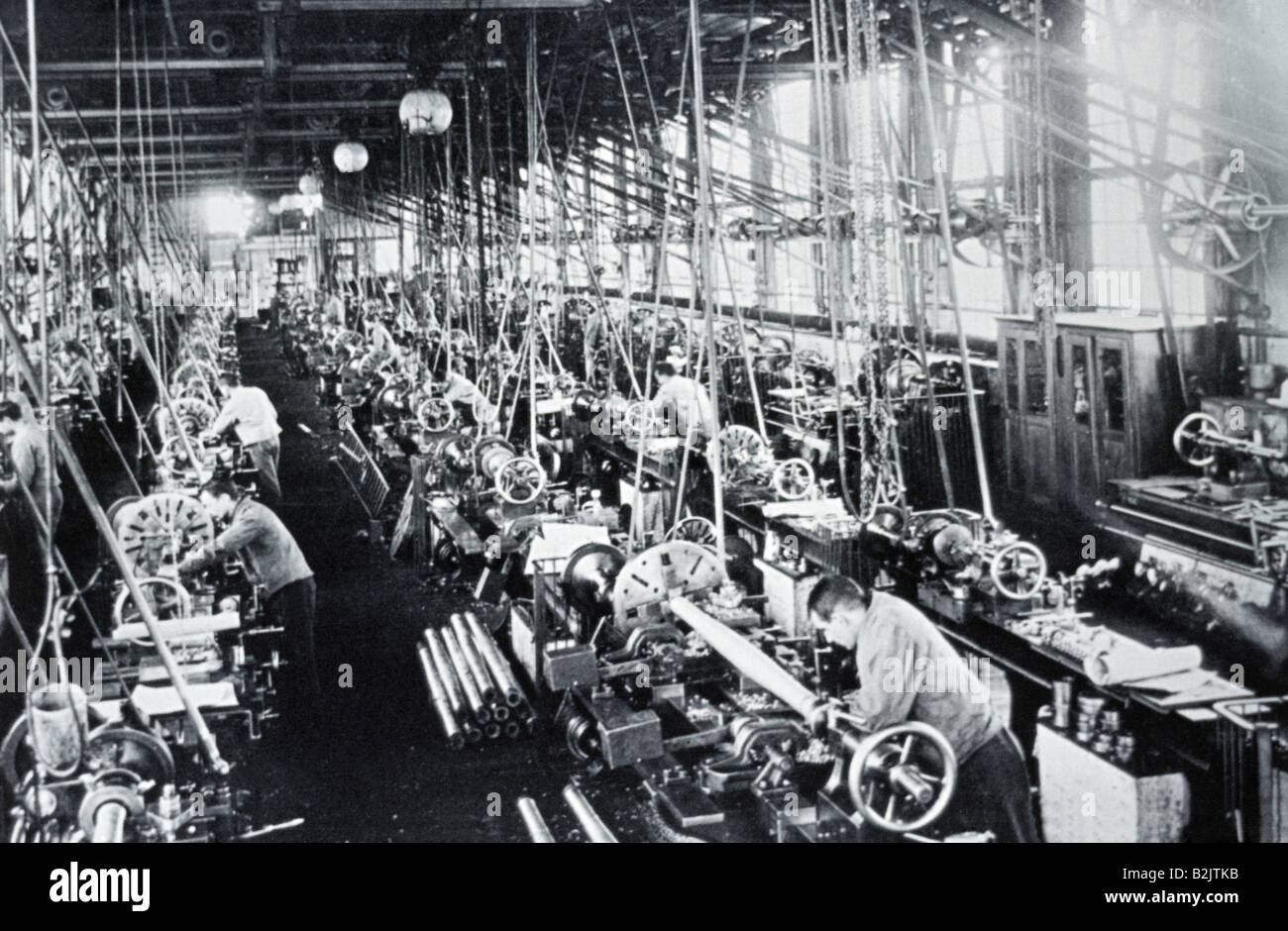 industry, metal, Krupp Works, hall, interior view, Essen, circa 1900, Additional-Rights-Clearances-NA - Stock Image