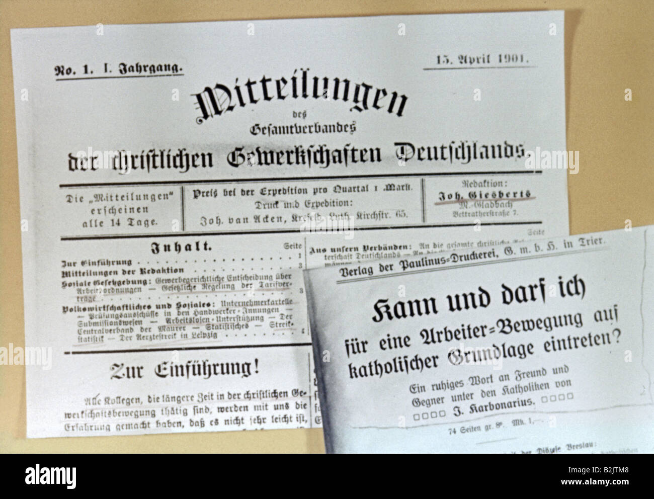 press / media, journals / magazines, 'Mitteilungen des Gesamtverband der christlichen Gerwerkschaften Deutschlands', - Stock Image