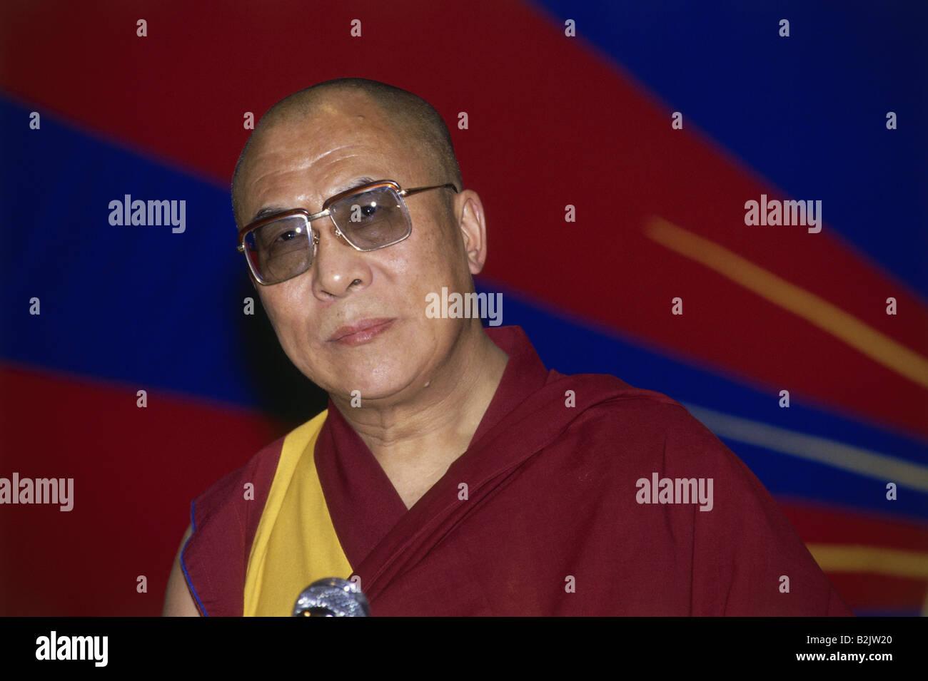 Dalai Lama 14th (Tenzin Gyatso), * 6.7.1935, Tibetan lama and politician, portrait, SOS Children`s Villages, New - Stock Image