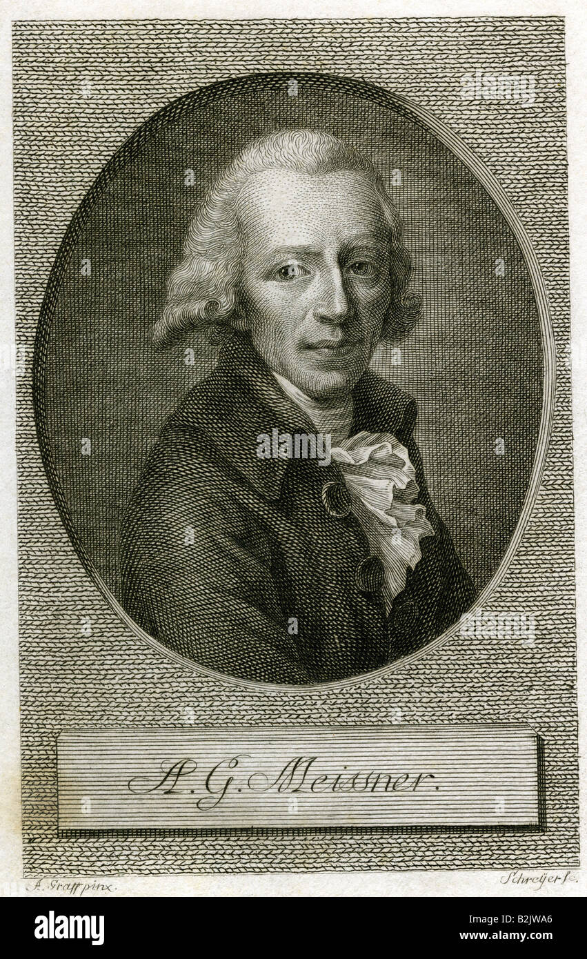 Meissner, August Gottlieb, 3.11.1753 - 18.2.1807, German author / writer, copper engraving, by Schreyer, based on - Stock Image