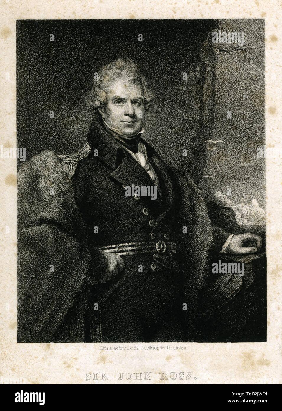 Ross, Sir John, 24.6.1777 - 30.8.1856, British rear admiral, Arctic explorer, half length, lithograph, by Louis - Stock Image