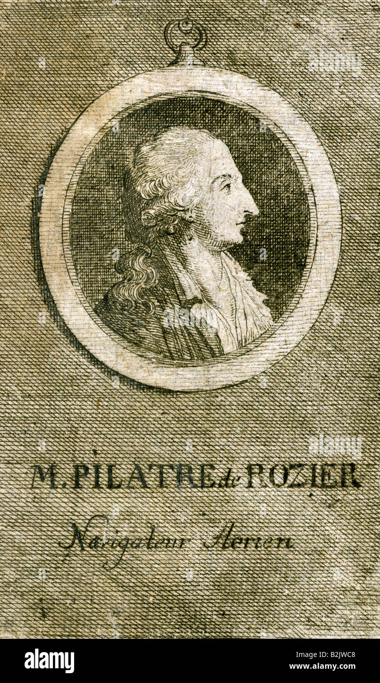 Rozier, Jean-Francois Pilatre de, 30.3.1757 - 15.6.1785, French physicist, pioneer of aviation, portrait, side view, Stock Photo