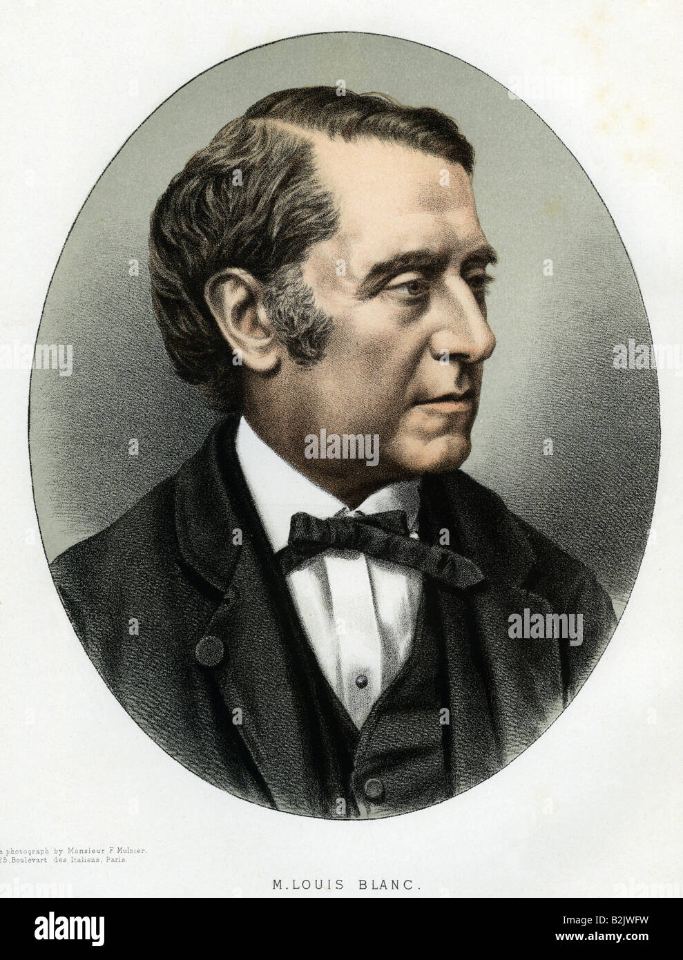 Blanc, Louis, 29.10 1811 -  6.12.1882, French historian, politician, portrait, lithograph, coloured, based on a - Stock Image